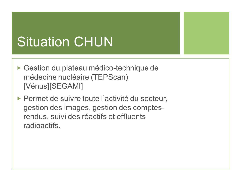 Situation CHUN Gestion du plateau médico-technique de médecine nucléaire (TEPScan) [Vénus][SEGAMI]